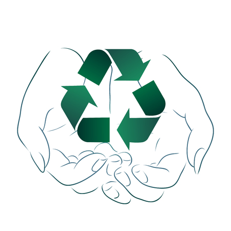 Outline drawing of hands holding a sign of recycling. Recycling and Zero Waste. Ecological vector element for logos, icons, banners and your design