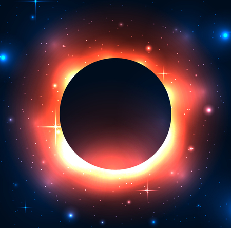 Illustration of a black hole in space with stars. Space and Supernova. Vector background for articles, covers and your design.