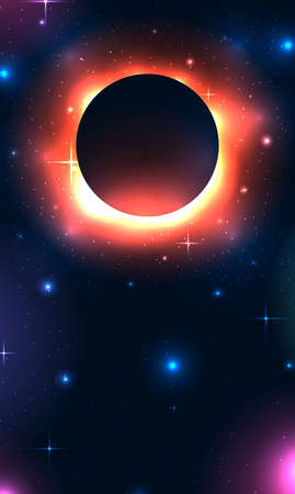Vertical banner with black hole in space with stars and place for text. Space and Supernova. Vector template for articles, covers and your design.
