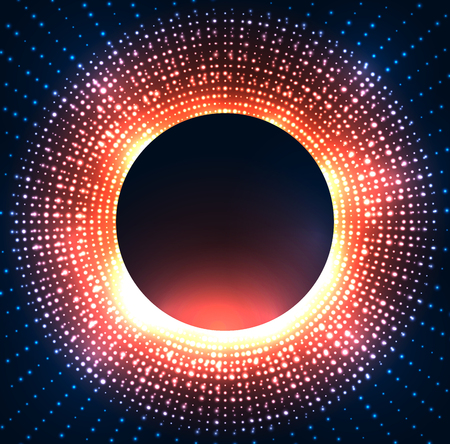 Illustration of a black hole with bright sparkles on circle. Space and Supernova. Vector background for articles, covers and your design. Çizim