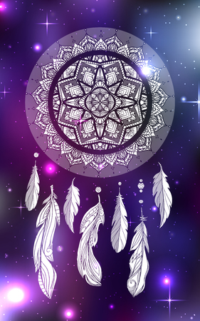 Mystical illustration of a dreamcatcher with a boho tracery pattern, feathers with beads on a cosmic background. Vector magic tribal card for your creativity. Illustration