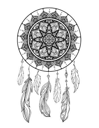 Ilustración mística de un cazador de sueños con un patrón de tracería boho, plumas con cuentas sobre un fondo blanco. Vector tarjeta tribal mágica para colorear páginas y tu creatividad.
