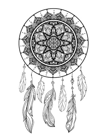Mystical illustration of a dreamcatcher with a boho tracery pattern, feathers with beads on a white background. Vector magic tribal card for coloring pages and your creativity.