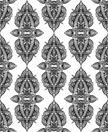 Seamless black and white paisley pattern with boho ornaments in row. Tribal background for textile, wallpaper and your creativity. Illusztráció