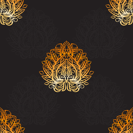 Seamless luxury paisley pattern with gold boho ornaments on black background. Tribal background for textile, wallpaper and your creativity.