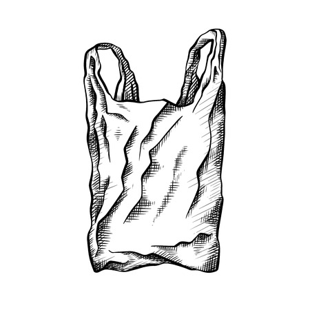 Black white line drawing of a plastic bag. Environmental pollution. Vector scribble drawing for your creativity.