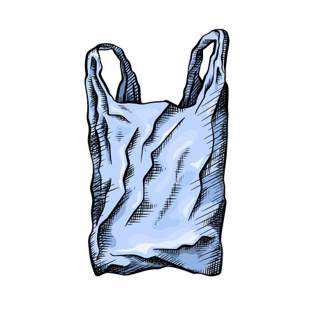 Coloring line drawing of a plastic bag. Environmental pollution. The object is separate from the background. Vector scribble drawing for your creativity. Ilustração