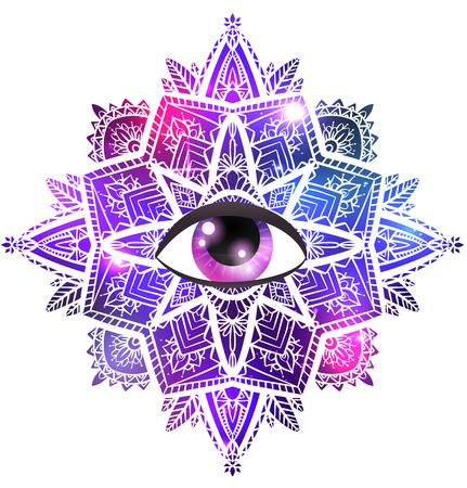 Mandala zen vectoriel avec oeil de la providence, motif boho, fond de l'espace avec étoiles et nébuleuse. L'objet est séparé de l'arrière-plan. Élément spirituel et magique pour votre créativité