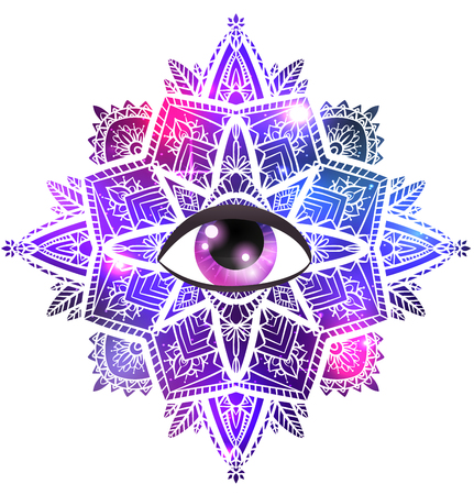 Vector zen mandala with eye of providence, boho pattern, space background with stars and nebula. The object is separate from the background. Spiritual, magical element for your creativity