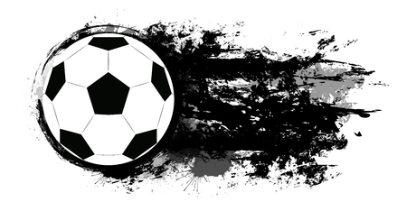 Soccer ball with grunge scuffs, ink stains and space for text. The object is separate from the background. Vector element for banners, articles and your design.