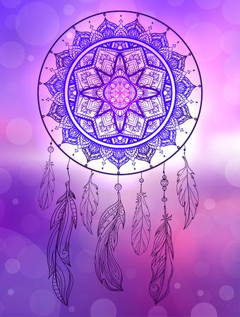 Ilustración mística de un cazador de sueños con un patrón de tracería boho, plumas con cuentas en el paisaje marino del amanecer borroso. Ilustración nativa. Tarjeta tribal mágica de vector para tu creatividad.