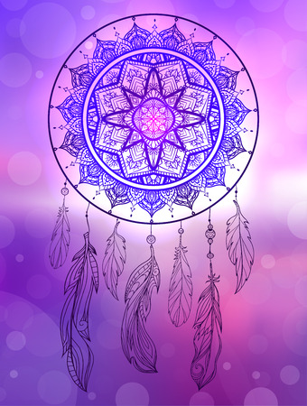 Mystical illustration of a dreamcatcher with a boho tracery pattern, feathers with beads on blurred sunrise seascape. Native illustration. Vector magic tribal card for your creativity.