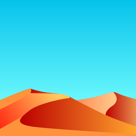 Flat vector illustration of sand in the desert with blue sky and space for text. Template for banners and your design.