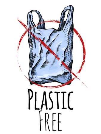 Plastic free. Coloring line drawing of a plastic bag with red prohibition sign. Environmental pollution. Vector vertical card with scribble drawing for your creativity. Illustration