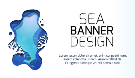 Horizontal banner with 3d illustration of marine landscape with reefs, cut out of paper. Layered scene with place for text. Vector element for articles, invitation and your design. Stock Illustratie
