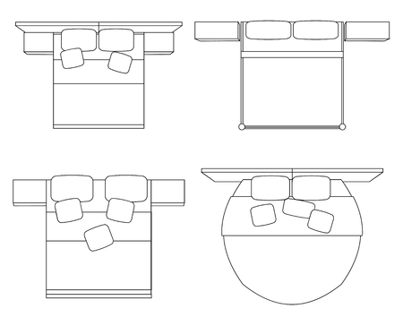 Set of contour drawing of double beds with a top view. Vector outline element for plans, apartment design and your creative network. 矢量图像