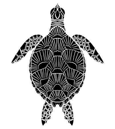 Black and white silhouette of a sea turtle top view. The object is separate from the background. Vector element for articles, logos, icons and your design. Stock Illustratie