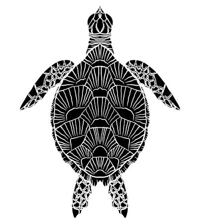 Silhouette noire et blanche d'une vue de dessus de tortue de mer. L'objet est séparé de l'arrière-plan. Élément vectoriel pour articles, logos, icônes et votre conception.