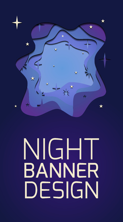 Vertical banner with 3d layer illustration of a night with stars cut out of paper and place for text.  Vector template for vouchers, cards, banners and your design. Stock Illustratie