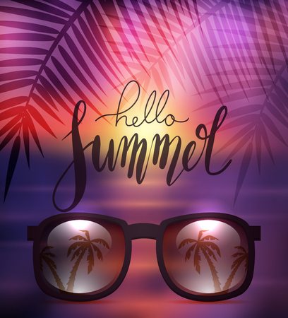Hello Summer, handwritten lettering with sunglasses on blurred sea background with palm branch. Positive quote for inspiration.  Vector calligraphy element for posters, cards and your design. Stock Illustratie