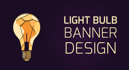 Horizontal banner with 3d layer illustration of a light bulb carved of paper on dark background and place for text.  Best idea. Vector template for cards, banners and your design.