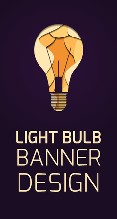 Vertical banner with 3d layer illustration of a light bulb carved of paper on dark background and place for text.  Concept of the idea. Vector template for cards, banners and your design.