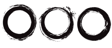 Set of black circle grunge strokes. Round ink brushstrokes. Objects separate from the background. Vector scratch elements for decor of invitations, cards and your design