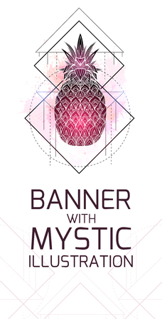 Vertical card with mystical illustration of a pineapple with a contour drawing, pink watercolor splashes. Poster with magic triangular drawing. Vector template for banner and your creativity.