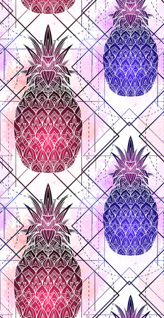 Seamless pattern with mystical pineapples with a contour drawing and pink watercolor splashes in a row. Texture with magic triangular drawing. Vector background for textile and your creativity.