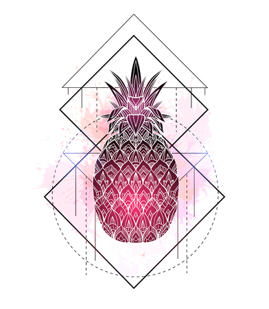 Mystical illustration of a pineapple with a contour drawing and pink watercolor splashes. Magic triangular drawing. Vector element for cards, postcards and your creativity. Ilustração