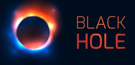 Horizontal banner with black hole and place for text. The explosion of the old star. Defocused round hole with flashes. Vector template for web banner, card and your design.