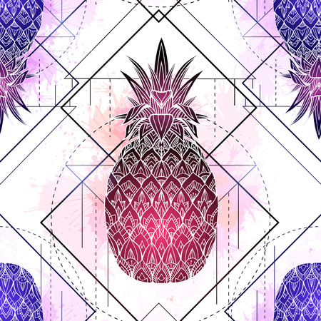 Seamless pattern with mystical illustration of pineapples with a contour drawing and pink watercolor splashes. Texture with magic triangular drawing. Vector background for textile and your creativity.