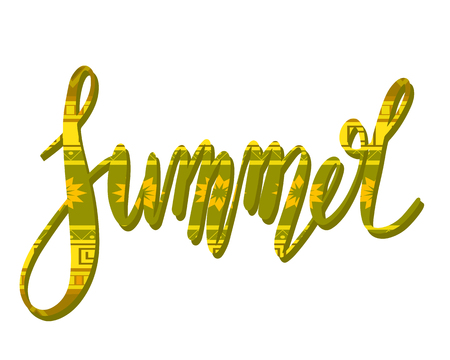 Summer handwritten lettering with tribal pattern.Calligraphic inscription with decoration. Vector calligraphy element for printing on T-shirts, cards, pins and your design. Stock Illustratie