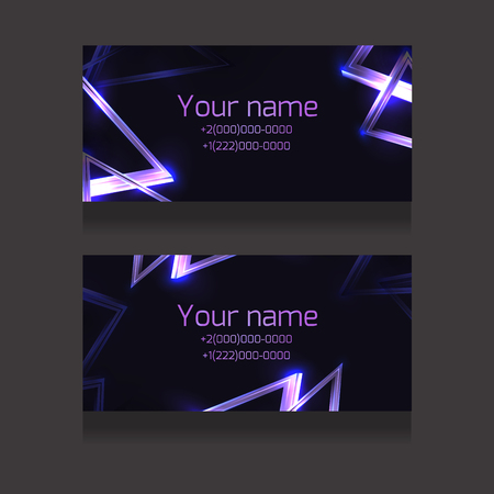 Set of business cards with abstract neon triangles and glister on dark background. Objects separate from the background. Vector template for presentations, corporate papers and your design