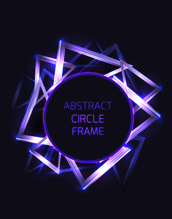 Round frame with abstract neon triangles and glister on dark background. Vector template for cards, posters, banners and your design. Stock Illustratie