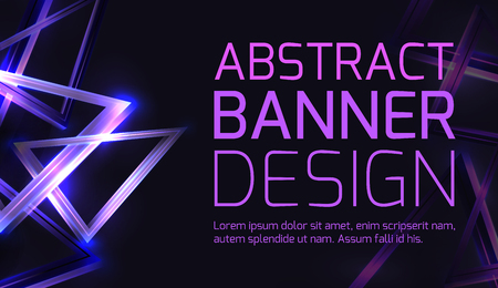Horizontal template of banner with abstract 3d background with neon triangles and sparkles on a dark background. Vector element for placat, voucher and your design