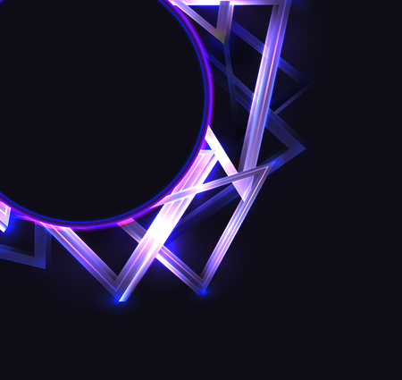 Square cover with round frame with abstract neon triangles and glister on dark background and place for text. Vector template for cards, posters, banners and your design.