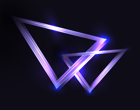 Abstract background with neon triangles and sparkles on a dark background. Vector backdrop for posters, banners and your design.