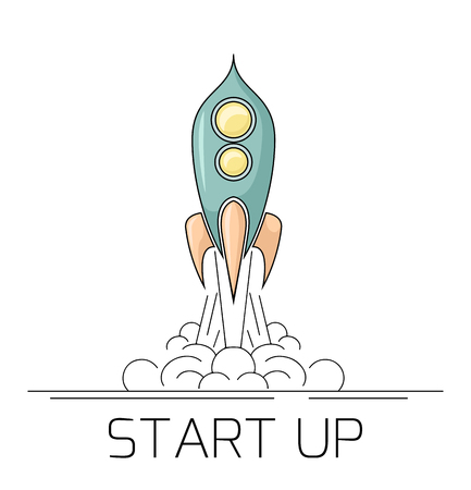 Contour illustration of a retro space rocket taking off with smoke. Start up project with a starship. Linear drawing on a white background. Success in the project. Vector element for banner, slide