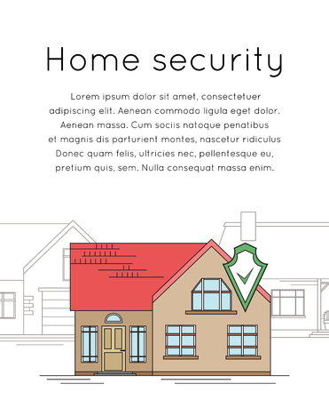 Vertical banner with outline drawing of house with security shield. Smart home with alarm on the background of ordinary homes. The house is guarded. Line art for flyer, card and your design.