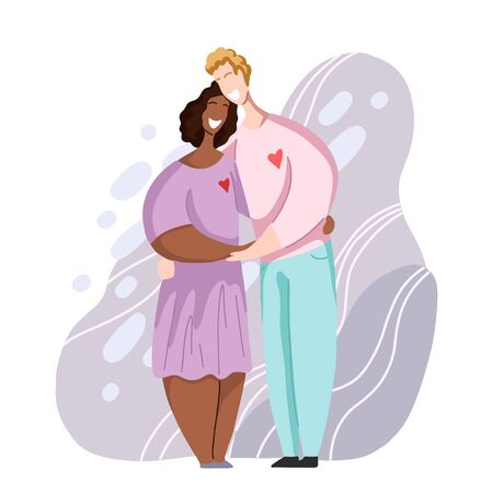 International happy couple hugging and laughing. Relationships and love. Date in modern flat style. Family and unity of different people. Vector element for cards, invitations and your creativity