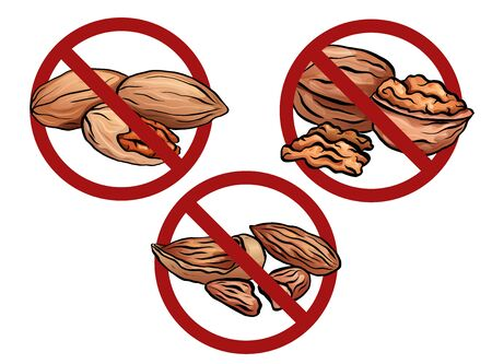 Set of cartoon nuts in the prohibition sign. Free from nuts. Ban on allergens. Allergy Alert.  Object is separate from the background. Vector element for recipes, menus, stickers and your design.