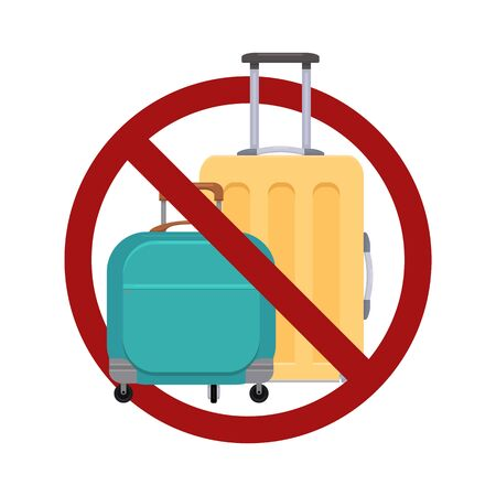 Ban on luggage. Flat illustration of suitcases in the prohibition sign. Stop cargo. Travel light. Object is separate from the background. Vector item for icons, stickers and your design