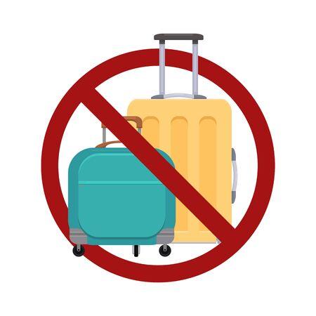 Divieto di bagagli. Illustrazione piana delle valigie nel segnale di divieto. Ferma il carico. Luce da viaggio. L'oggetto è separato dallo sfondo. Elemento vettoriale per icone, adesivi e il tuo design