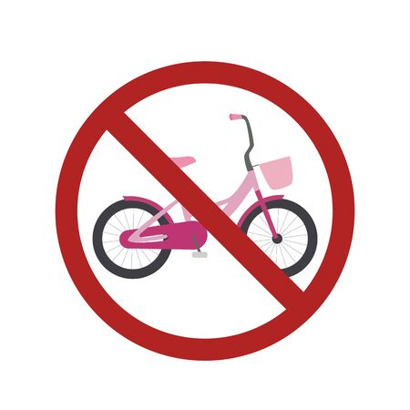 Flat bike in the prohibition sign. Ban on cycling. Child bike in the ban. Vector element for badges, labels, icons and your design.