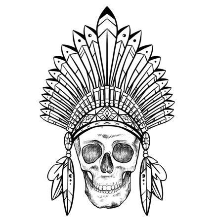 Black and white drawing of a human skull in a Native American hat. Tribal doodle picture. Front view. Tribal vector images