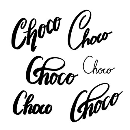 Choco lettering set. Brush calligraphy. Chocolate inscription. The object is separate from the background. Vector ink element  イラスト・ベクター素材