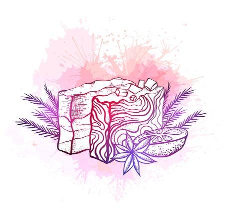 Illustrazione vettoriale al neon di saponi fatti a mano con arancia, ramoscelli di ginepro e anice stellato su schizzi ad acquerello rosa. Hobby casalingo. Fare il sapone. Disegno disegnato a mano per carte, ricette e la tua creatività. Vettoriali