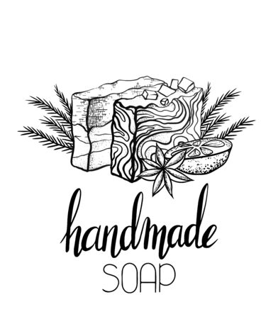 Vector outline illustration of handmade soap with candmade soaps with orange, juniper twigs and star anise and lettering. Card with calligraphy. Template for posters, recipes and your creativity. Stock Illustratie