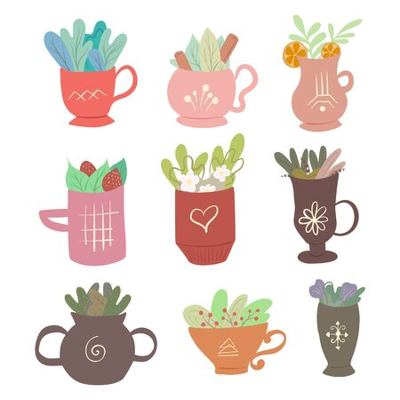 Set of flat illustrations of decorative cups of tea with foliage and various ingredients. Summer teas with cinnamon, mint, lemon, strawberrie and foliage. Magical vector kit Ilustrace